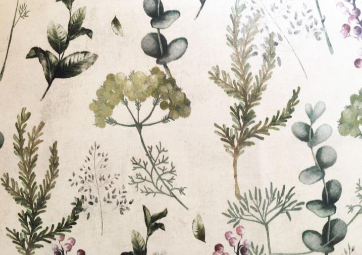 Tovaglia dama con bordo botanica