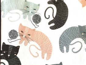 Tovaglia dama con bordo gatti