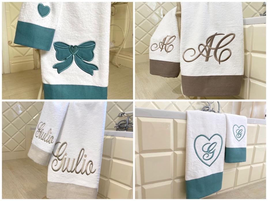 Asciugamani balza lino ricamati